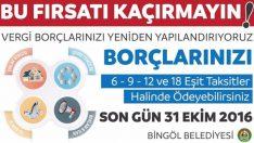 Bingöl Belediyesi'nden yapılandırma uyarısı